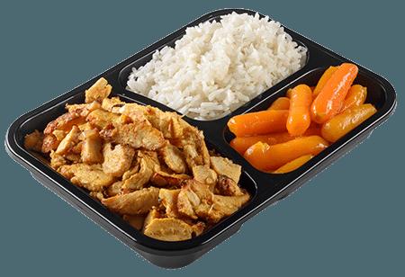 עוף מוקפץ בתוספת אורז וגזר